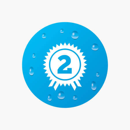 second prize: Water drops on button. Second place award sign icon. Prize for winner symbol. Realistic pure raindrops. Blue circle. Vector