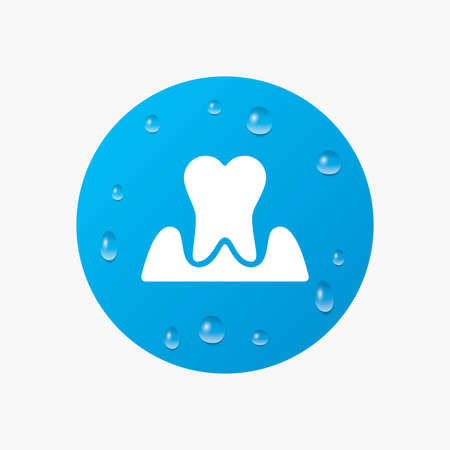 gingivitis: Water drops on button. Parodontosis tooth icon. Gingivitis sign. Inflammation of gums symbol. Realistic pure raindrops. Blue circle. Vector