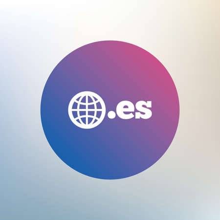 vector es: Domain ES sign icon. Top-level internet domain symbol with globe. Icon on blurred background. Vector Illustration
