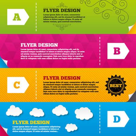 consumo energia: Disegni brochure Flyer. Classe di efficienza energetica icone. Energia simboli consumo segno. Classe A, B, C e D. modelli di progettazione del telaio. Vettore