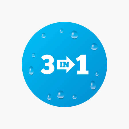 suite: Water drops on button. Three in one suite sign icon. 3 in 1 symbol with arrow. Realistic pure raindrops. Blue circle. Vector