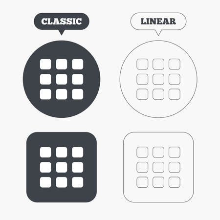 thumbnails: Thumbnails grid sign icon. Gallery view option symbol. Classic and line web buttons. Circles and squares. Vector Illustration