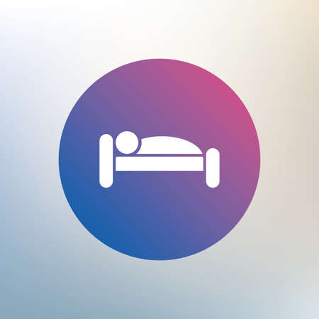 sleeper: Human in bed sign icon. Travel rest place. Sleeper symbol. Icon on blurred background. Vector
