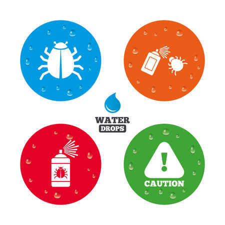 insanitary: Water drops on button. Bug disinfection icons. Caution attention symbol. Insect fumigation spray sign. Realistic pure raindrops on circles. Vector