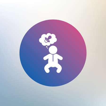 crawlers: Baby infant think about pacifier nipple sign icon. Toddler boy in pajamas or crawlers body symbol. Icon on blurred background. Vector