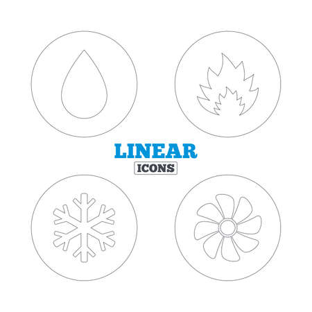 water supply: HVAC icons. Heating, ventilating and air conditioning symbols. Water supply. Climate control technology signs. Linear outline web icons. Vector Illustration
