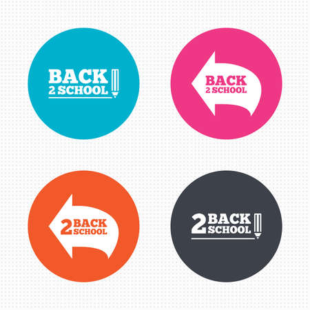 after school: Circle buttons. Back to school icons. Studies after the holidays signs. Pencil symbol. Seamless squares texture. Vector