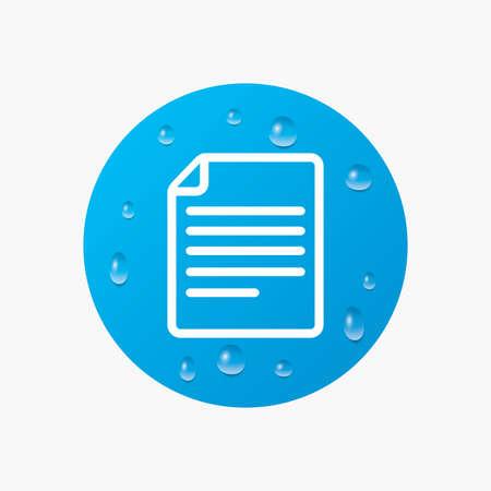 doc: Water drops on button. File document icon. Download doc button. Doc file symbol. Realistic pure raindrops. Blue circle. Vector Illustration