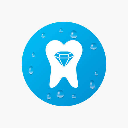prestige: Water drops on button. Tooth crystal icon. Tooth jewellery sign. Dental prestige symbol. Realistic pure raindrops. Blue circle. Vector