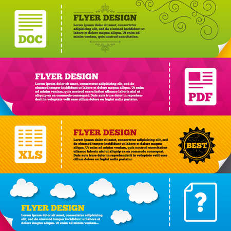 xls: Flyer brochure designs. File document and question icons. XLS, PDF and DOC file symbols. Download or save doc signs. Frame design templates. Vector
