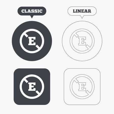 preservatives: Food additive sign icon. Without E symbol. Healthy natural food. Classic and line web buttons. Circles and squares. Vector