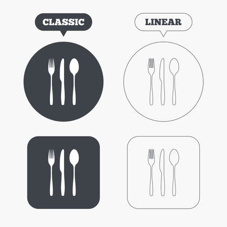 tablespoon: Fork, knife, tablespoon sign icon. Cutlery collection set symbol. Classic and line web buttons. Circles and squares. Vector