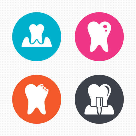 gingivitis: Circle buttons. Dental care icons. Caries tooth sign. Tooth endosseous implant symbol. Parodontosis gingivitis sign. Seamless squares texture. Vector Illustration