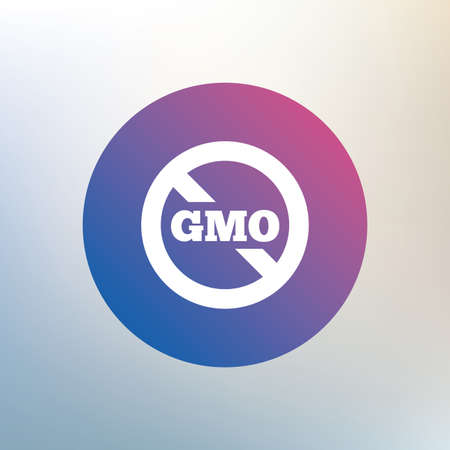 gmo: No GMO sign icon. Without Genetically modified food. Stop GMO. Icon on blurred background. Vector Illustration