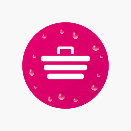 Water drops on button. Shopping Cart sign icon. Online buying button. Realistic pure raindrops. Pink circle. Vector Illustration