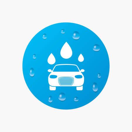 autolavaggio: Gocce d'acqua su tasto. Icona Autolavaggio. Automated teller simbolo autolavaggio. Gocce d'acqua segni. Gocce di pioggia puro realistici. Cerchio blu. Vettore