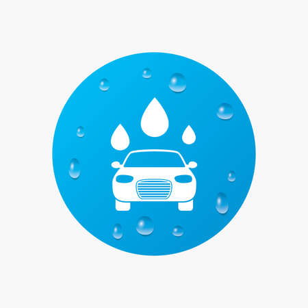 Water drops on button. Car wash icon. Automated teller carwash symbol. Water drops signs. Realistic pure raindrops. Blue circle. Vector Vectores