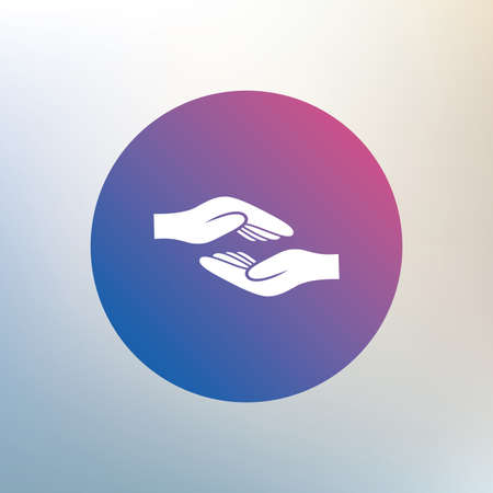 endowment: Helping hands sign icon. Charity or endowment symbol. Human palm. Icon on blurred background. Vector