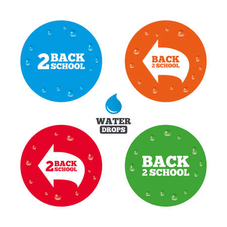 after school: Water drops on button. Back to school icons. Studies after the holidays signs symbols. Realistic pure raindrops on circles. Vector