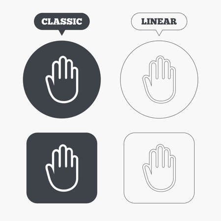 give me five: Hand sign icon. No Entry or stop symbol. Give me five. Classic and line web buttons. Circles and squares. Vector