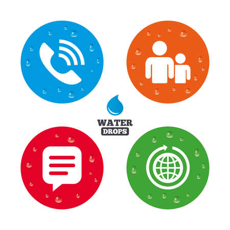 rang: Water drops on button. Group of people and share icons. Speech bubble and round the world arrow symbols. Communication signs. Realistic pure raindrops on circles. Vector