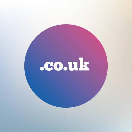 subdomain: Domain CO.UK sign icon. UK internet subdomain symbol. Icon on blurred background. Vector