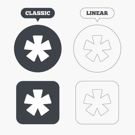 more information: Asterisk footnote sign icon. Star note symbol for more information. Classic and line web buttons. Circles and squares. Vector