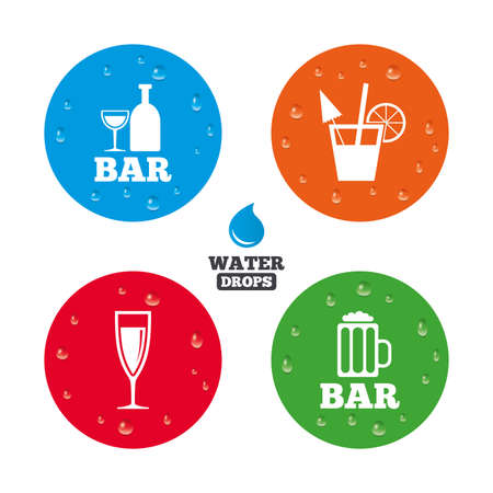 Water drops on button. Bar or Pub icons. Glass of beer and champagne signs. Alcohol drinks and cocktail symbols. Realistic pure raindrops on circles. Vector Illustration