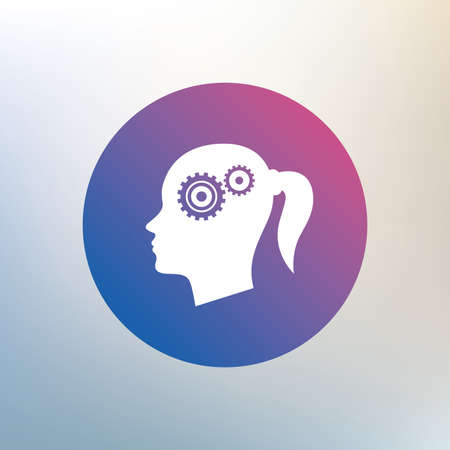 gear icon: Head with gears sign icon. Female woman human head think symbol. Icon on blurred background. Vector