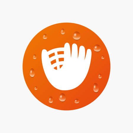 mitt: Water drops on button. Baseball glove or mitt sign icon. Sport symbol. Realistic pure raindrops. Orange circle. Vector Illustration