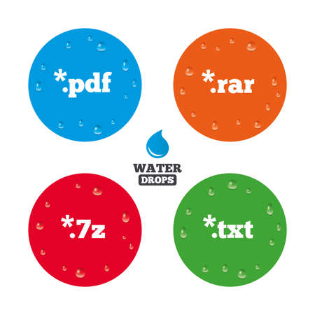 txt: Water drops on button. Document icons. File extensions symbols. PDF, RAR, 7z and TXT signs. Realistic pure raindrops on circles. Vector Illustration
