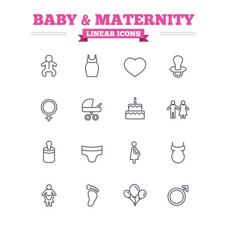 maternity: Baby and Maternity linear icons set. Toddler, diapers and child footprint symbols. Heart, birthday cake and pacifier thin outline signs. Pregnant woman, couple and air balloons. Flat vector