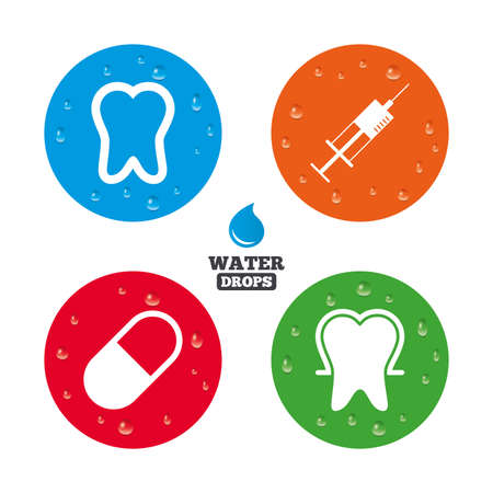 enamel: Water drops on button. Tooth enamel protection icons. Medical syringe and pill signs. Medicine injection symbol. Realistic pure raindrops on circles. Vector Illustration