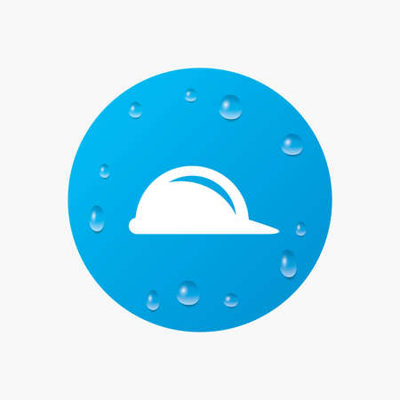 hard rain: Water drops on button. Hard hat sign icon. Construction helmet symbol. Realistic pure raindrops. Blue circle. Vector