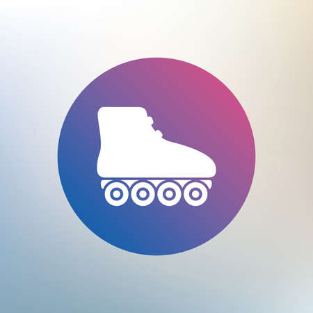 rollerblades: Roller skates sign icon. Rollerblades symbol. Icon on blurred background. Vector