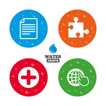 puzzle globe: Water drops on button. Plus add circle and puzzle piece icons. Document file and globe with hand pointer sign symbols. Realistic pure raindrops on circles. Vector