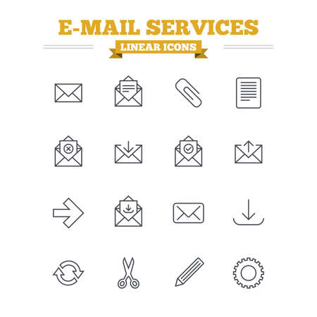 receive: Mail services linear icons set. Send mail, paper clip and download arrow symbols. Scissors, pencil and refresh thin outline signs. Receive, select and delete mail. Flat vector