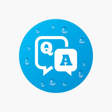 qa: Water drops on button. Question answer sign icon. Q&A symbol. Realistic pure raindrops. Blue circle. Vector