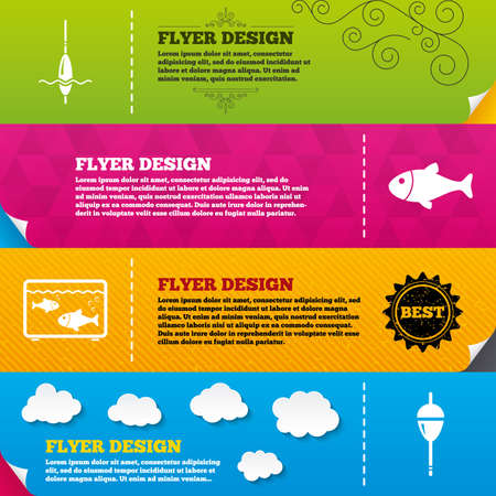 fisherman: Flyer brochure designs. Fishing icons. Fish with fishermen hook sign. Float bobber symbol. Aquarium icon. Frame design templates. Vector Illustration