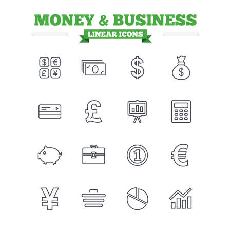 cashless: Money and business linear icons set. Cash and cashless money. Usd, eur, gbp and jpy currency exchange. Presentation, calculator and shopping cart symbols. Thin outline signs. Flat vector