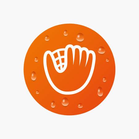 mitt: Water drops on button. Baseball glove or mitt sign icon. Sport symbol. Realistic pure raindrops. Orange circle. Vector Illustration