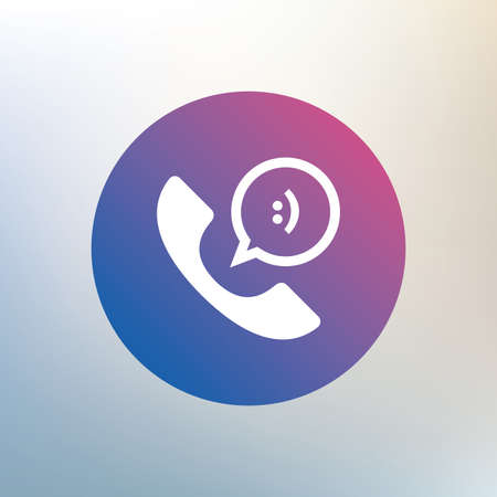 Phone sign icon. Support symbol. Call center. Speech bubble with smile. Icon on blurred background. Vector