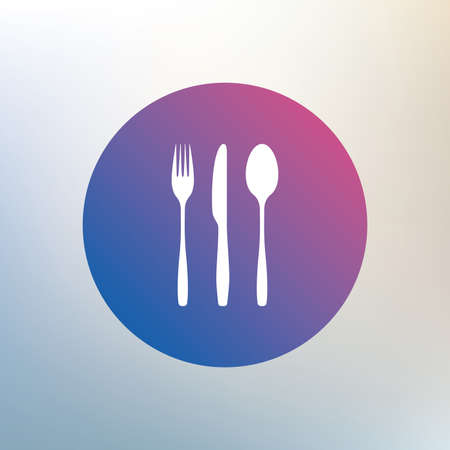 tablespoon: Fork, knife, tablespoon sign icon. Cutlery collection set symbol. Icon on blurred background. Vector