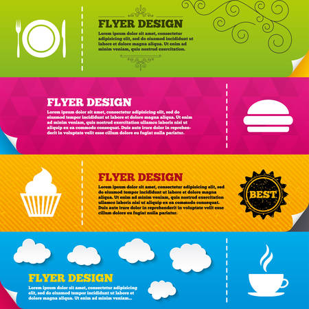 food plate: Flyer brochure designs. Food and drink icons. Muffin cupcake symbol. Plate dish with fork and knife sign. Hot coffee cup and hamburger. Frame design templates. Vector