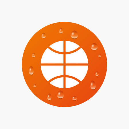 Water drops on button. Basketball sign icon. Sport symbol. Realistic pure raindrops. Orange circle. Vector Illustration