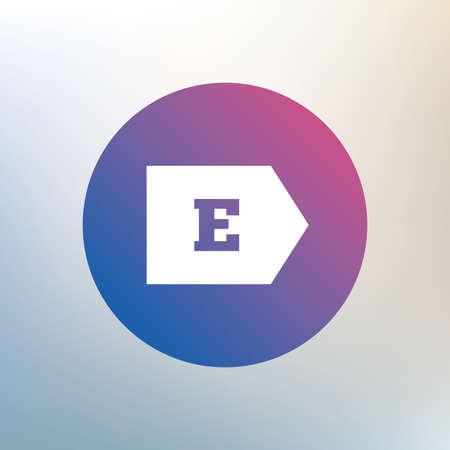 消費: エネルギー効率クラス E 記号アイコン。エネルギー消費のシンボル。背景をぼかした写真のアイコンを。ベクトル