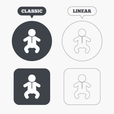 crawlers: Baby infant sign icon. Toddler boy in pajamas or crawlers body symbol. Child WC toilet. Classic and line web buttons. Circles and squares. Vector Illustration