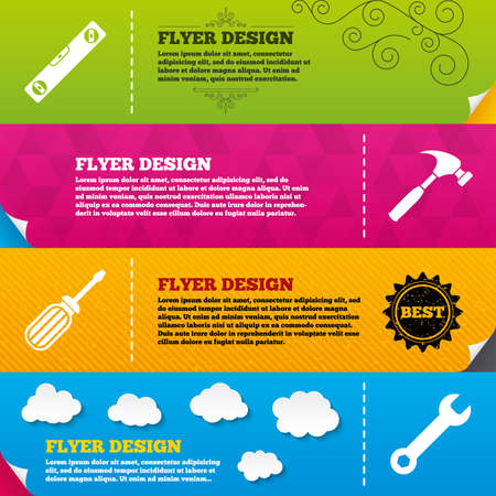 bubble level: Flyer brochure designs. Screwdriver and wrench key tool icons. Bubble level and hammer sign symbols. Frame design templates. Vector