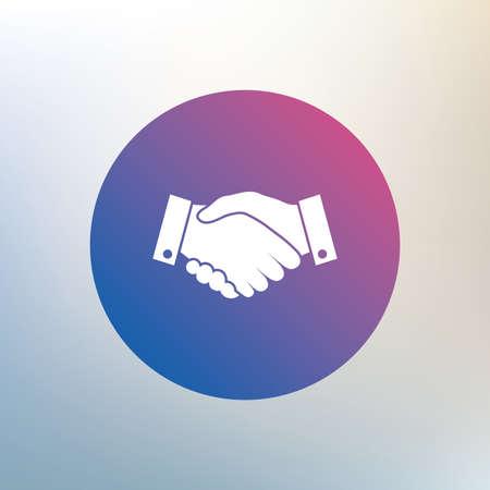 stretta mano: Stretta di mano segno icona. Simbolo di business di successo. Icona su sfondo sfocato. Vettore