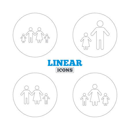 family with two children: Family with two children icon. Parents and kids symbols. One-parent family signs. Mother and father divorce. Linear outline web icons. Vector Illustration